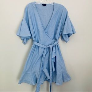 Topshop ruffle mini stripe dress